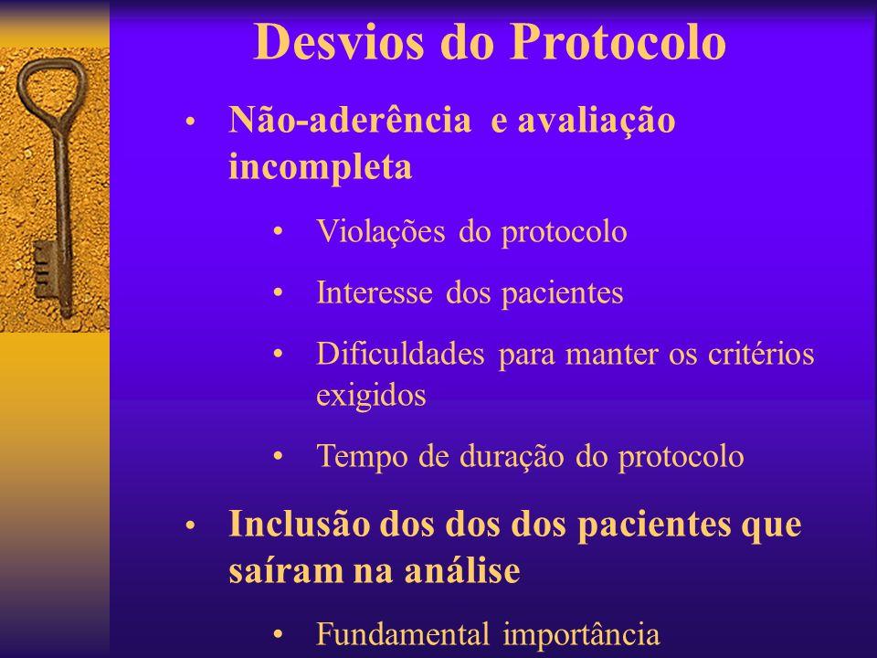 Não-aderência e avaliação incompleta Violações do protocolo Interesse dos pacientes Dificuldades para manter os critérios exigidos Tempo de duração do