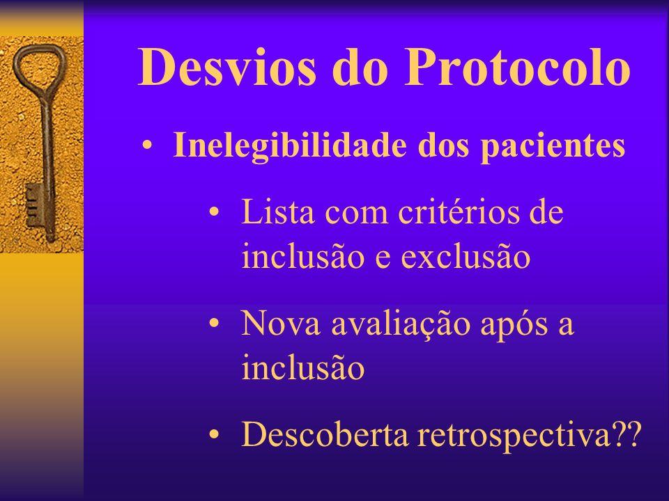 Desvios do Protocolo Inelegibilidade dos pacientes Lista com critérios de inclusão e exclusão Nova avaliação após a inclusão Descoberta retrospectiva?