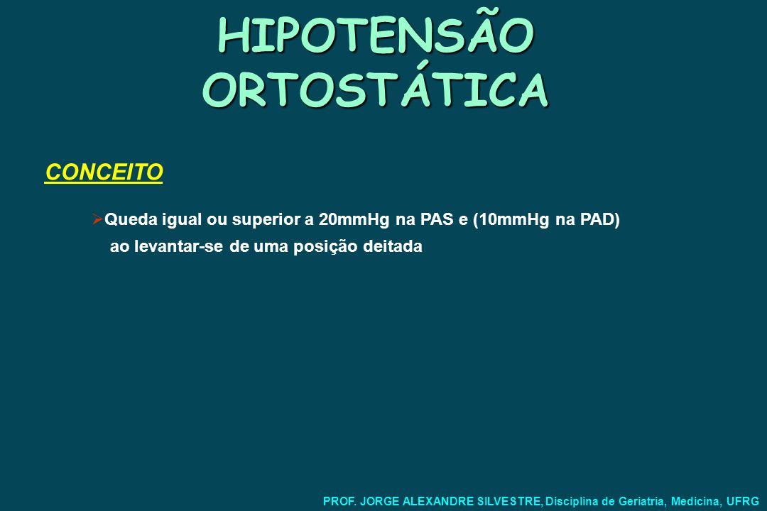 HIPOTENSÃO ORTOSTÁTICA Sintomas: Relativos à hipoperfusão cerebral: Tonturas Síncope Quedas Distúrbios visuais Déficits neurológicos focais Cervicalgia com irradiação para os ombros PROF.