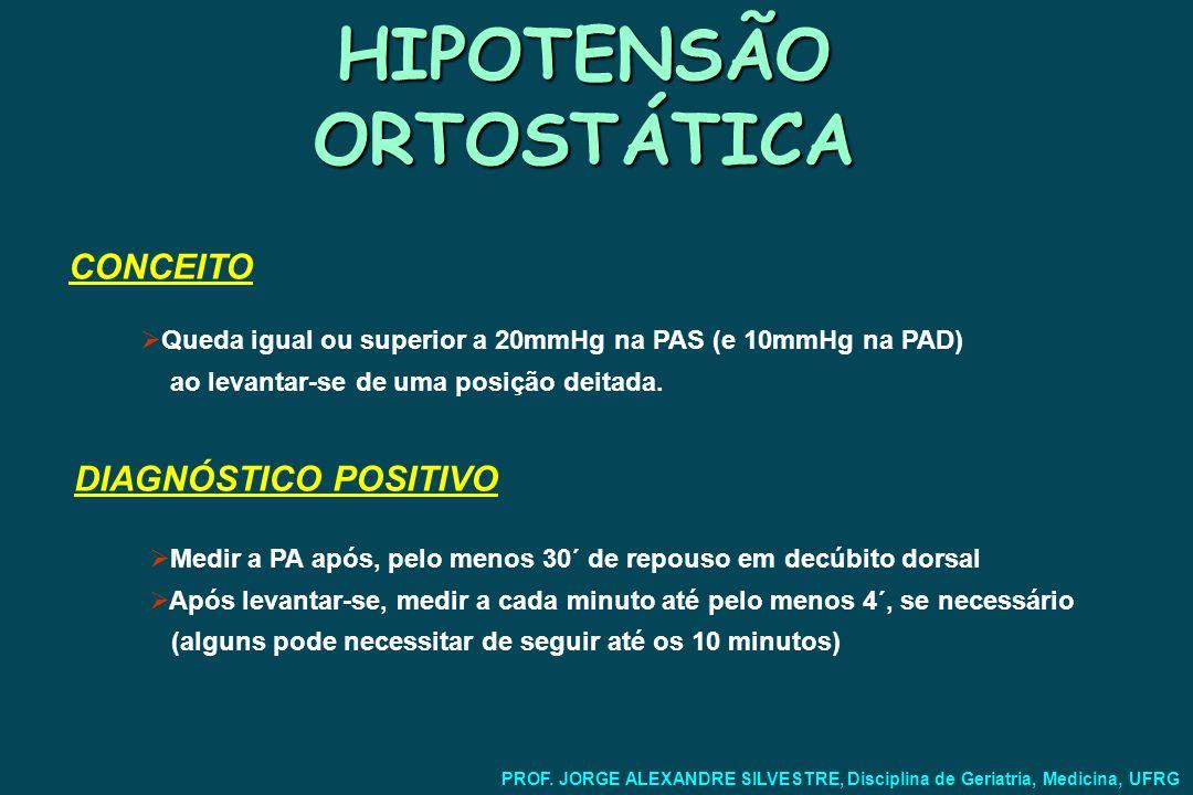 HIPOTENSÃO ORTOSTÁTICA Sintomas: Relativos à hipoperfusão cerebral: Tonturas Síncope Quedas Distúrbios visuais Déficits neurológicos focais Cervicalgia com irradiação para os ombros Relativos à hipoperfusão de outras regiões: Claudicação intermitente PROF.