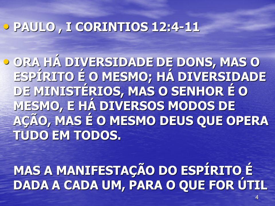 4 PAULO, I CORINTIOS 12:4-11 PAULO, I CORINTIOS 12:4-11 ORA HÁ DIVERSIDADE DE DONS, MAS O ESPÍRITO É O MESMO; HÁ DIVERSIDADE DE MINISTÉRIOS, MAS O SEN