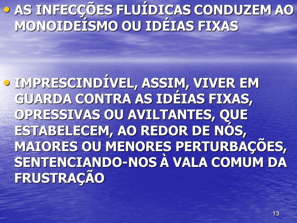 13 AS INFECÇÕES FLUÍDICAS CONDUZEM AO MONOIDEÍSMO OU IDÉIAS FIXAS AS INFECÇÕES FLUÍDICAS CONDUZEM AO MONOIDEÍSMO OU IDÉIAS FIXAS IMPRESCINDÍVEL, ASSIM