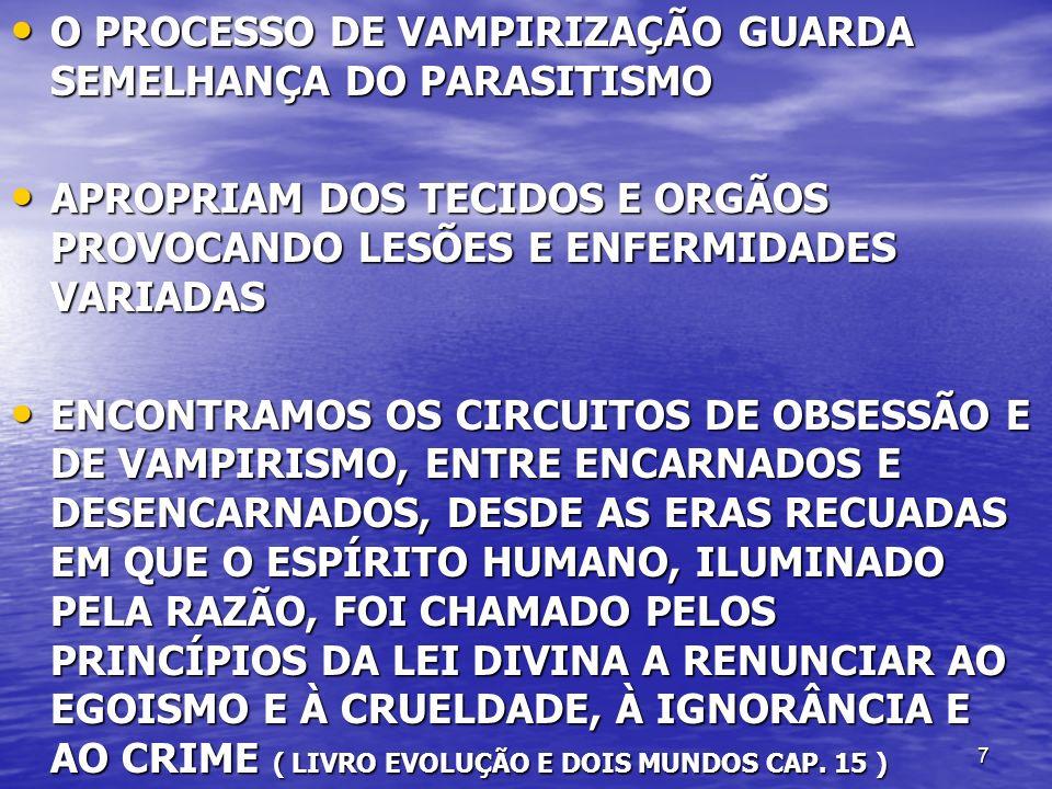 7 O PROCESSO DE VAMPIRIZAÇÃO GUARDA SEMELHANÇA DO PARASITISMO O PROCESSO DE VAMPIRIZAÇÃO GUARDA SEMELHANÇA DO PARASITISMO APROPRIAM DOS TECIDOS E ORGÃ