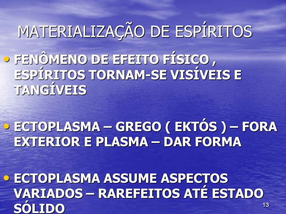 13 MATERIALIZAÇÃO DE ESPÍRITOS FENÔMENO DE EFEITO FÍSICO, ESPÍRITOS TORNAM-SE VISÍVEIS E TANGÍVEIS FENÔMENO DE EFEITO FÍSICO, ESPÍRITOS TORNAM-SE VISÍ