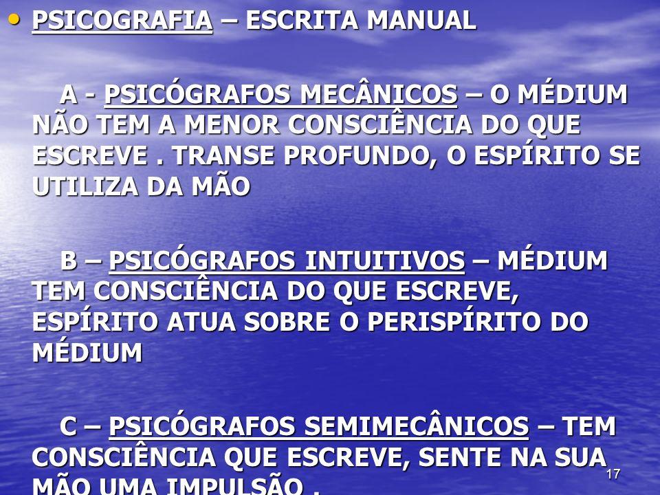 17 PSICOGRAFIA – ESCRITA MANUAL PSICOGRAFIA – ESCRITA MANUAL A - PSICÓGRAFOS MECÂNICOS – O MÉDIUM NÃO TEM A MENOR CONSCIÊNCIA DO QUE ESCREVE. TRANSE P