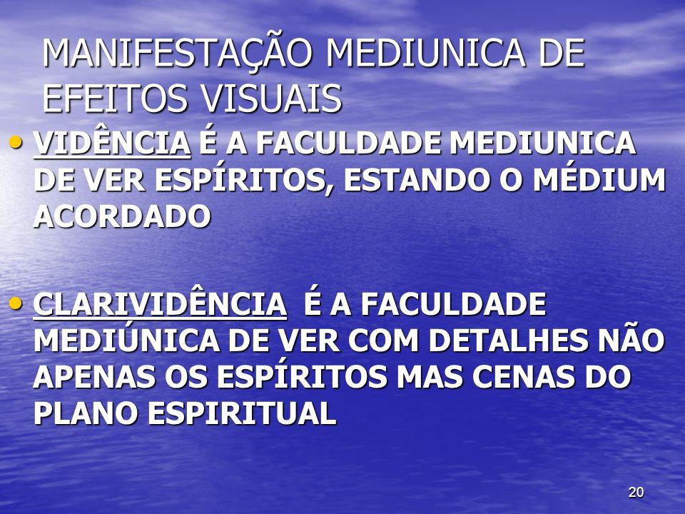 20 MANIFESTAÇÃO MEDIUNICA DE EFEITOS VISUAIS VIDÊNCIA É A FACULDADE MEDIUNICA DE VER ESPÍRITOS, ESTANDO O MÉDIUM ACORDADO VIDÊNCIA É A FACULDADE MEDIU