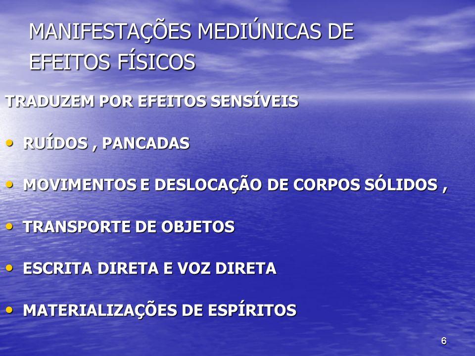6 MANIFESTAÇÕES MEDIÚNICAS DE EFEITOS FÍSICOS TRADUZEM POR EFEITOS SENSÍVEIS RUÍDOS, PANCADAS RUÍDOS, PANCADAS MOVIMENTOS E DESLOCAÇÃO DE CORPOS SÓLID