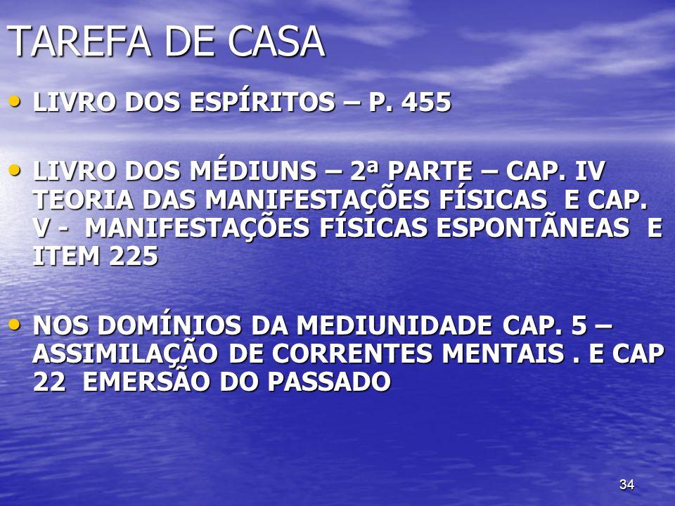 34 TAREFA DE CASA LIVRO DOS ESPÍRITOS – P. 455 LIVRO DOS ESPÍRITOS – P. 455 LIVRO DOS MÉDIUNS – 2ª PARTE – CAP. IV TEORIA DAS MANIFESTAÇÕES FÍSICAS E