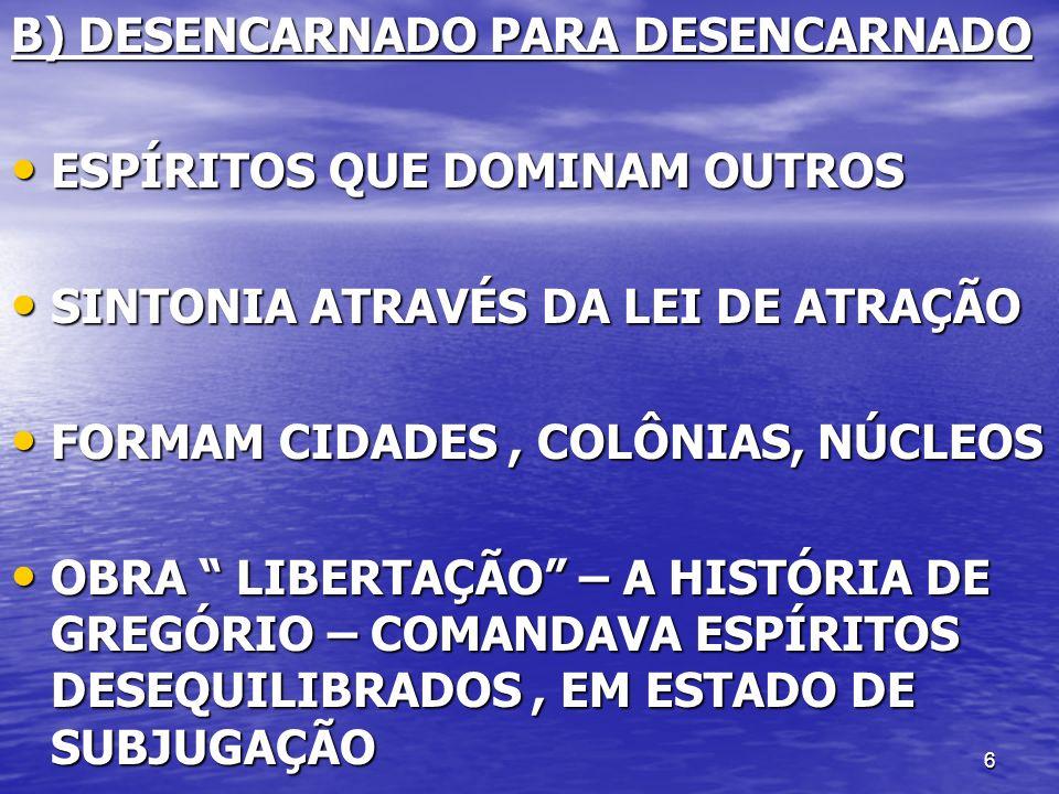 6 B) DESENCARNADO PARA DESENCARNADO ESPÍRITOS QUE DOMINAM OUTROS ESPÍRITOS QUE DOMINAM OUTROS SINTONIA ATRAVÉS DA LEI DE ATRAÇÃO SINTONIA ATRAVÉS DA L