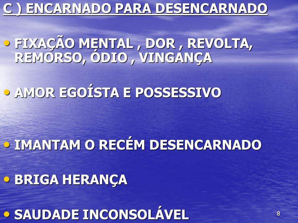 9 D ) DESENCARNADO PARA ENCARNADO DOMÍNIO DO QUE SE SENTE PREJUDICADO SOBRE A VITIMA DOMÍNIO DO QUE SE SENTE PREJUDICADO SOBRE A VITIMA OU OU ESPÍRITOS CONTRATADOS NÃO TEM RELAÇÃO COM A VITIMA ESPÍRITOS CONTRATADOS NÃO TEM RELAÇÃO COM A VITIMA
