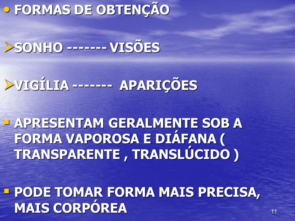 11 FORMAS DE OBTENÇÃO FORMAS DE OBTENÇÃO SONHO ------- VISÕES SONHO ------- VISÕES VIGÍLIA ------- APARIÇÕES VIGÍLIA ------- APARIÇÕES APRESENTAM GERA