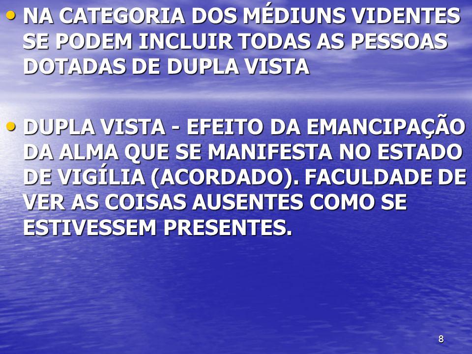 8 NA CATEGORIA DOS MÉDIUNS VIDENTES SE PODEM INCLUIR TODAS AS PESSOAS DOTADAS DE DUPLA VISTA NA CATEGORIA DOS MÉDIUNS VIDENTES SE PODEM INCLUIR TODAS