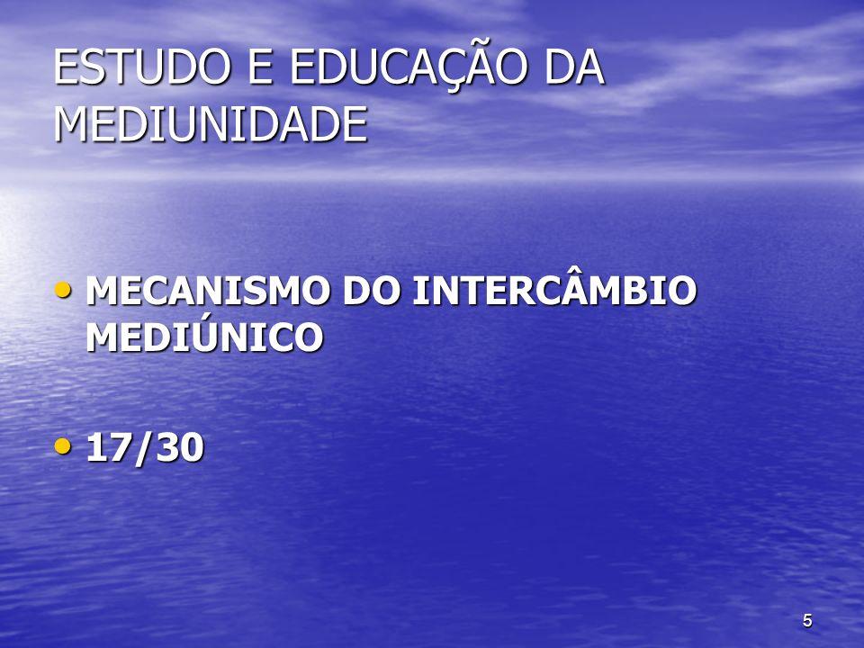 5 ESTUDO E EDUCAÇÃO DA MEDIUNIDADE MECANISMO DO INTERCÂMBIO MEDIÚNICO MECANISMO DO INTERCÂMBIO MEDIÚNICO 17/30 17/30