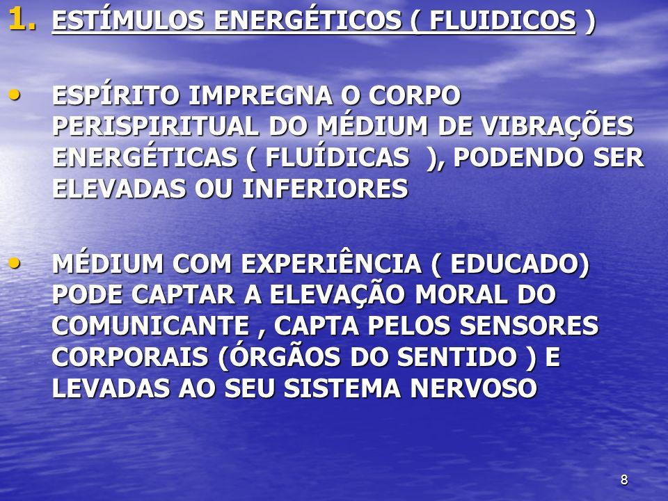 8 1. ESTÍMULOS ENERGÉTICOS ( FLUIDICOS ) ESPÍRITO IMPREGNA O CORPO PERISPIRITUAL DO MÉDIUM DE VIBRAÇÕES ENERGÉTICAS ( FLUÍDICAS ), PODENDO SER ELEVADA