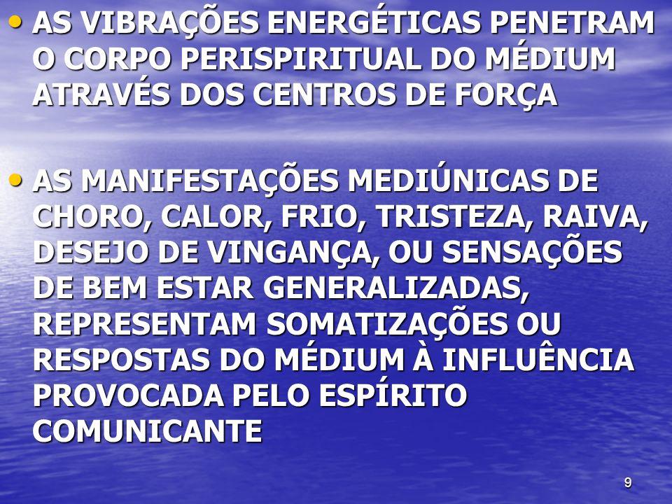 9 AS VIBRAÇÕES ENERGÉTICAS PENETRAM O CORPO PERISPIRITUAL DO MÉDIUM ATRAVÉS DOS CENTROS DE FORÇA AS VIBRAÇÕES ENERGÉTICAS PENETRAM O CORPO PERISPIRITUAL DO MÉDIUM ATRAVÉS DOS CENTROS DE FORÇA AS MANIFESTAÇÕES MEDIÚNICAS DE CHORO, CALOR, FRIO, TRISTEZA, RAIVA, DESEJO DE VINGANÇA, OU SENSAÇÕES DE BEM ESTAR GENERALIZADAS, REPRESENTAM SOMATIZAÇÕES OU RESPOSTAS DO MÉDIUM À INFLUÊNCIA PROVOCADA PELO ESPÍRITO COMUNICANTE AS MANIFESTAÇÕES MEDIÚNICAS DE CHORO, CALOR, FRIO, TRISTEZA, RAIVA, DESEJO DE VINGANÇA, OU SENSAÇÕES DE BEM ESTAR GENERALIZADAS, REPRESENTAM SOMATIZAÇÕES OU RESPOSTAS DO MÉDIUM À INFLUÊNCIA PROVOCADA PELO ESPÍRITO COMUNICANTE