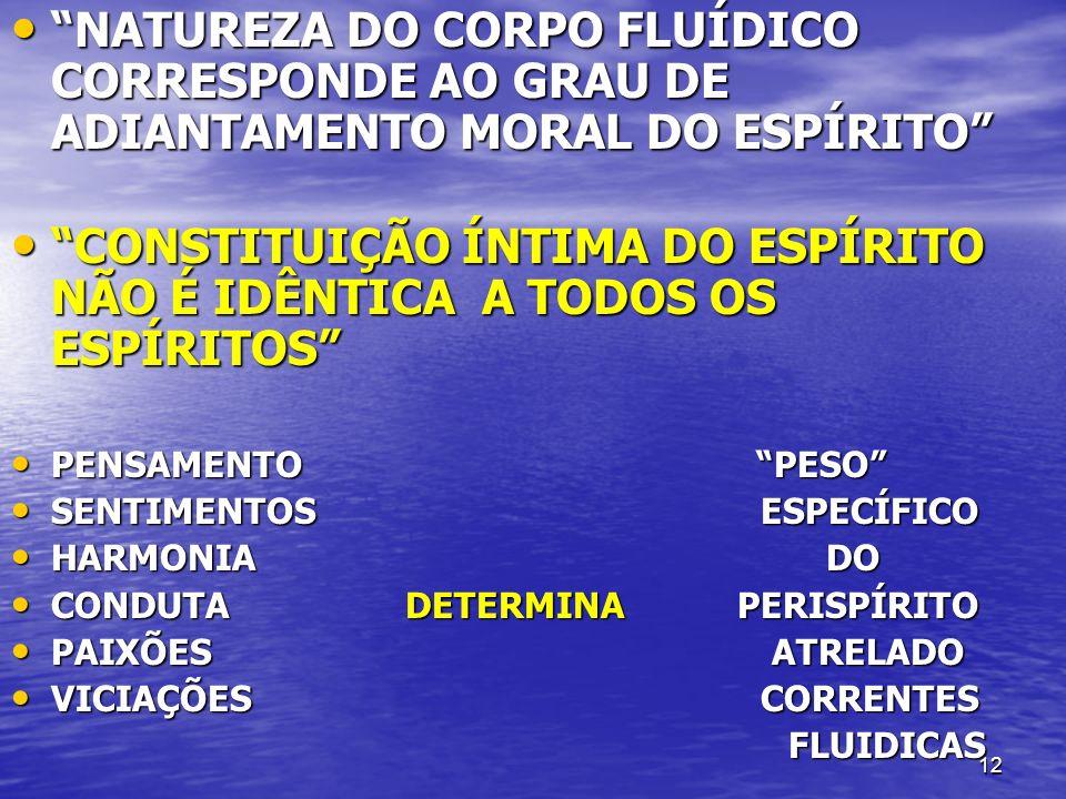 12 NATUREZA DO CORPO FLUÍDICO CORRESPONDE AO GRAU DE ADIANTAMENTO MORAL DO ESPÍRITO NATUREZA DO CORPO FLUÍDICO CORRESPONDE AO GRAU DE ADIANTAMENTO MOR