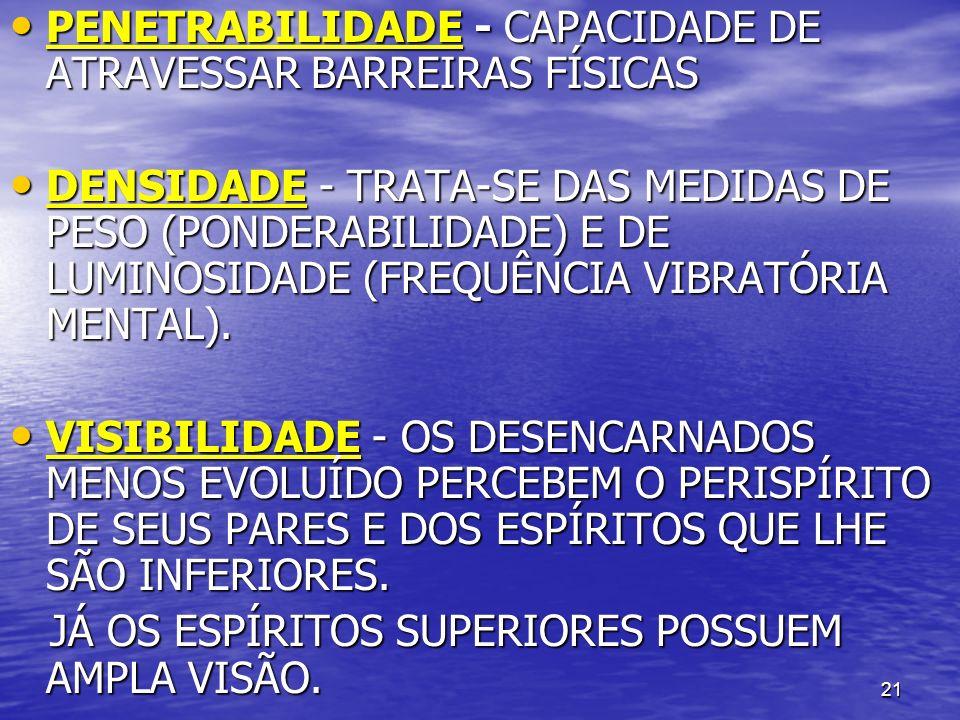 21 PENETRABILIDADE - CAPACIDADE DE ATRAVESSAR BARREIRAS FÍSICAS PENETRABILIDADE - CAPACIDADE DE ATRAVESSAR BARREIRAS FÍSICAS DENSIDADE - TRATA-SE DAS