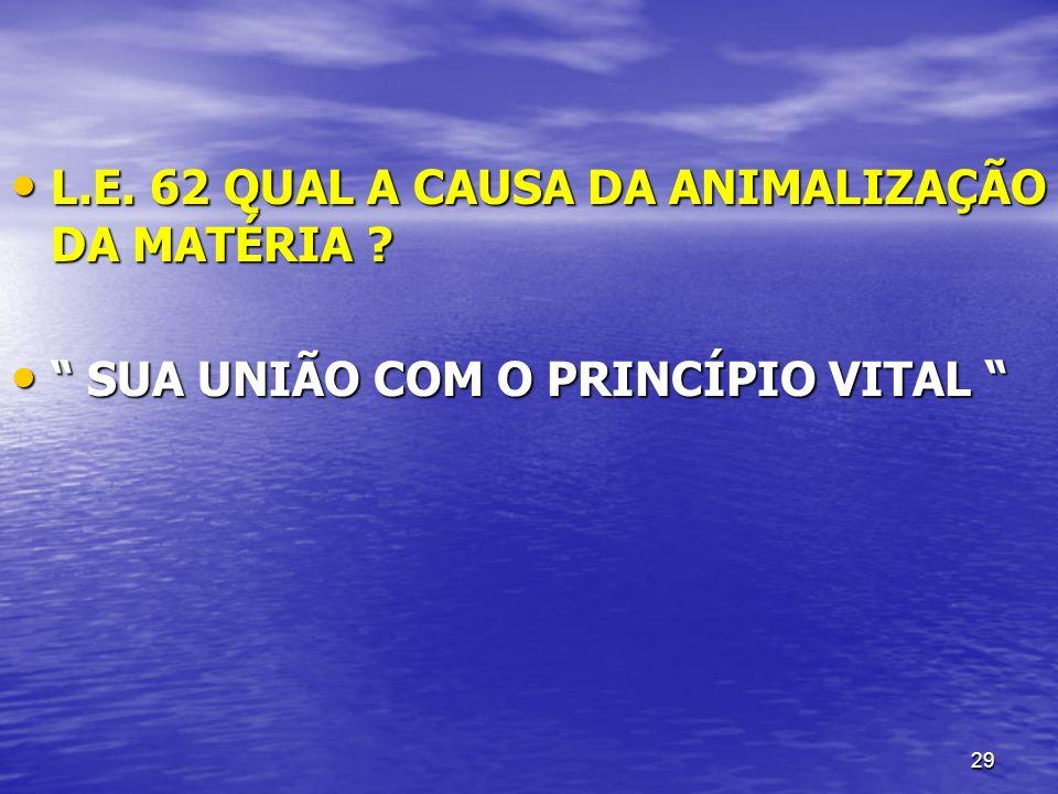 29 L.E. 62 QUAL A CAUSA DA ANIMALIZAÇÃO DA MATÉRIA ? L.E. 62 QUAL A CAUSA DA ANIMALIZAÇÃO DA MATÉRIA ? SUA UNIÃO COM O PRINCÍPIO VITAL SUA UNIÃO COM O