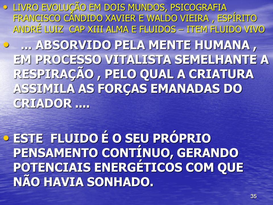 35 LIVRO EVOLUÇÃO EM DOIS MUNDOS, PSICOGRAFIA FRANCISCO CÂNDIDO XAVIER E WALDO VIEIRA, ESPÍRITO ANDRÉ LUIZ CAP XIII ALMA E FLUIDOS – ITEM FLUIDO VIVO