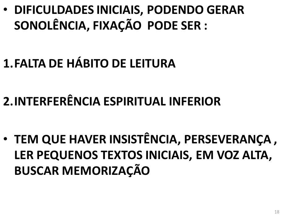 DIFICULDADES INICIAIS, PODENDO GERAR SONOLÊNCIA, FIXAÇÃO PODE SER : 1.FALTA DE HÁBITO DE LEITURA 2.INTERFERÊNCIA ESPIRITUAL INFERIOR TEM QUE HAVER INS
