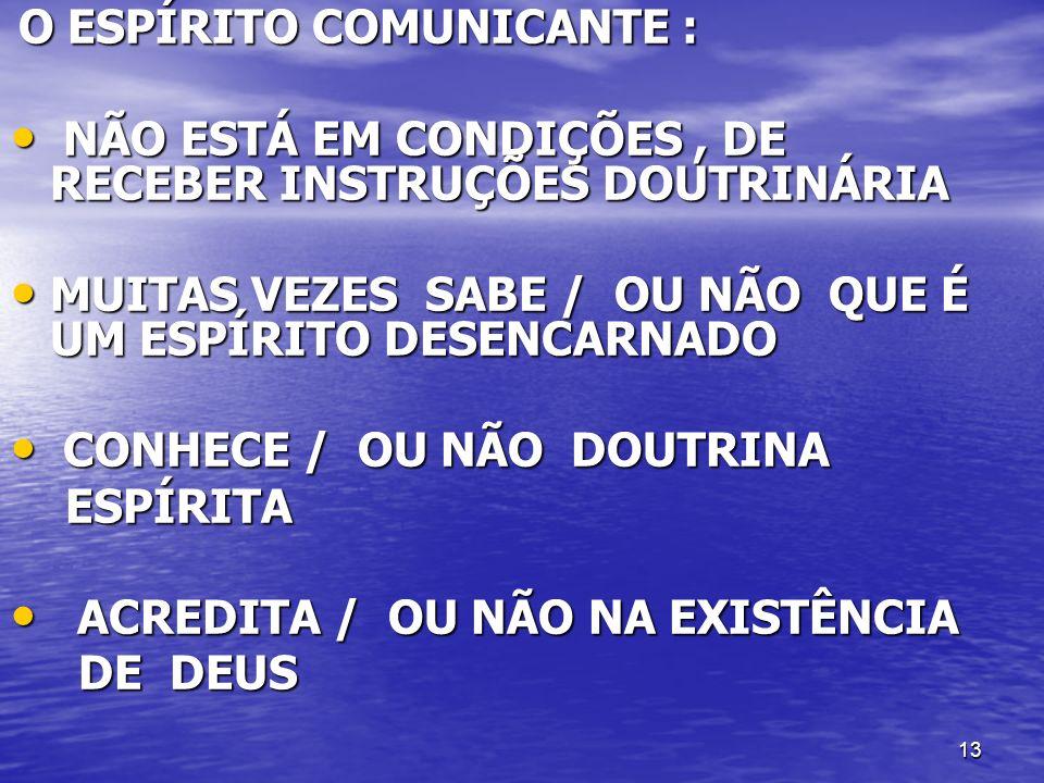 13 O ESPÍRITO COMUNICANTE : O ESPÍRITO COMUNICANTE : NÃO ESTÁ EM CONDIÇÕES, DE RECEBER INSTRUÇÕES DOUTRINÁRIA NÃO ESTÁ EM CONDIÇÕES, DE RECEBER INSTRU