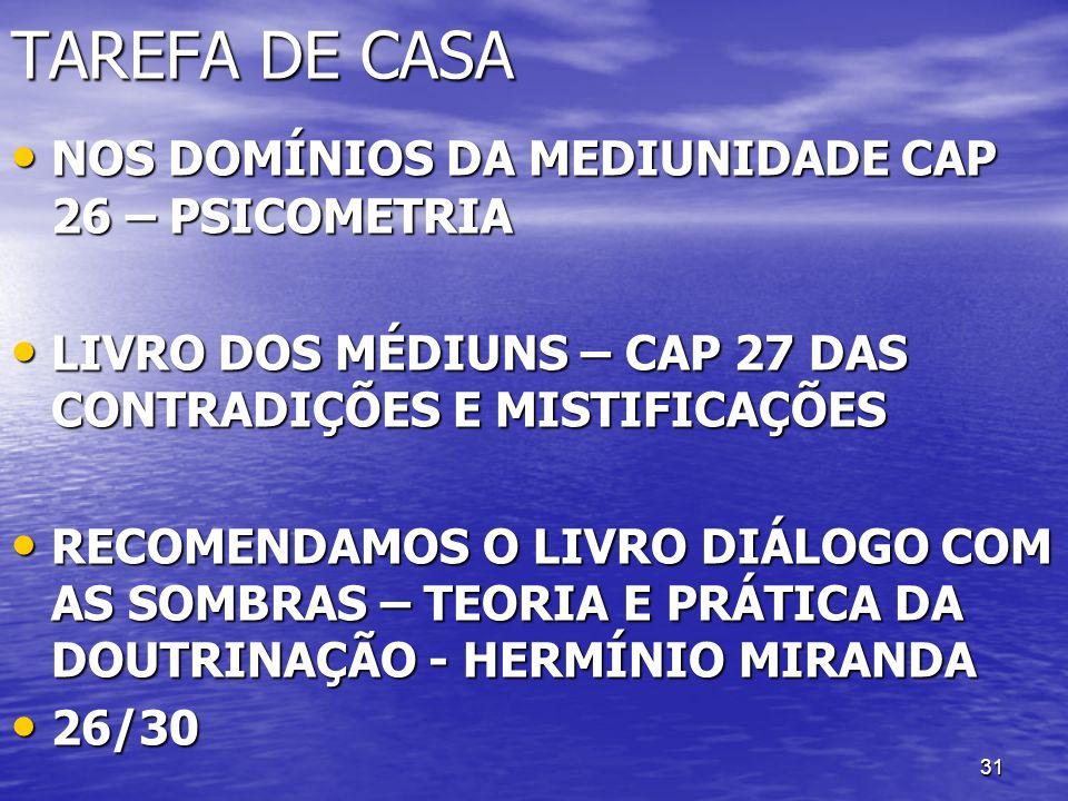 31 TAREFA DE CASA NOS DOMÍNIOS DA MEDIUNIDADE CAP 26 – PSICOMETRIA NOS DOMÍNIOS DA MEDIUNIDADE CAP 26 – PSICOMETRIA LIVRO DOS MÉDIUNS – CAP 27 DAS CON