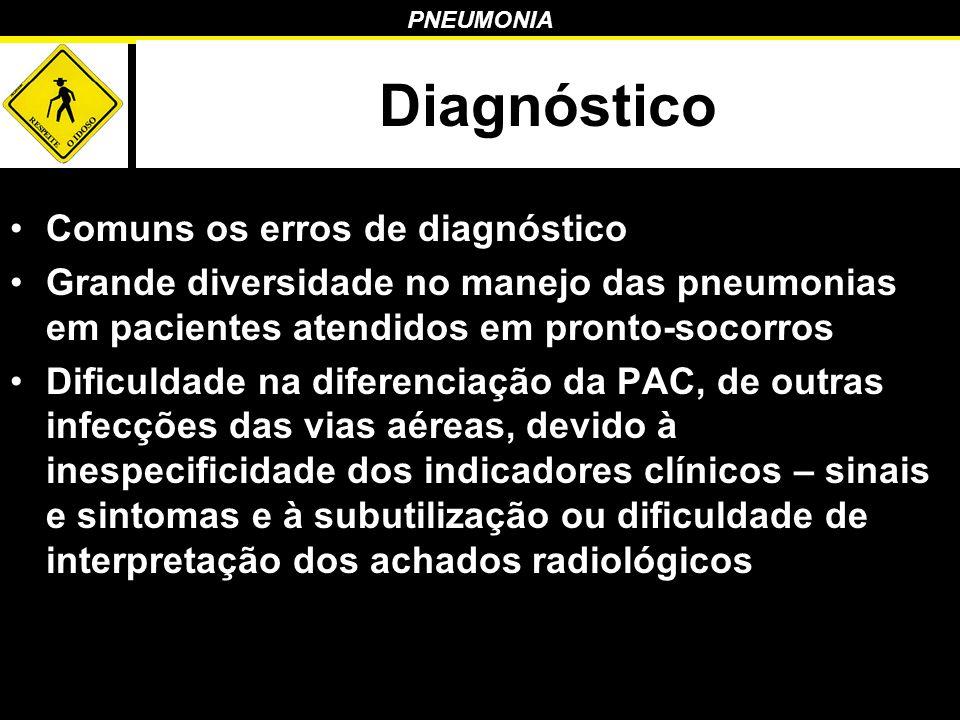 PNEUMONIA Diagnóstico Comuns os erros de diagnóstico Grande diversidade no manejo das pneumonias em pacientes atendidos em pronto-socorros Dificuldade