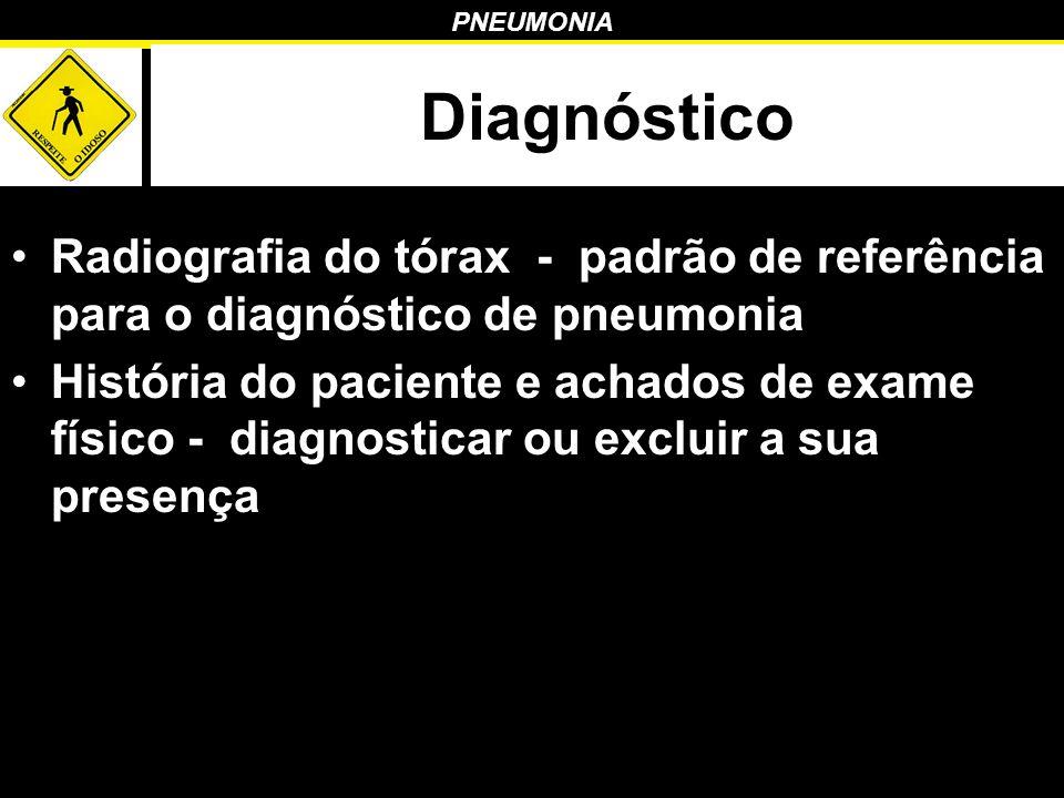 PNEUMONIA Diagnóstico Radiografia do tórax - padrão de referência para o diagnóstico de pneumonia História do paciente e achados de exame físico - dia