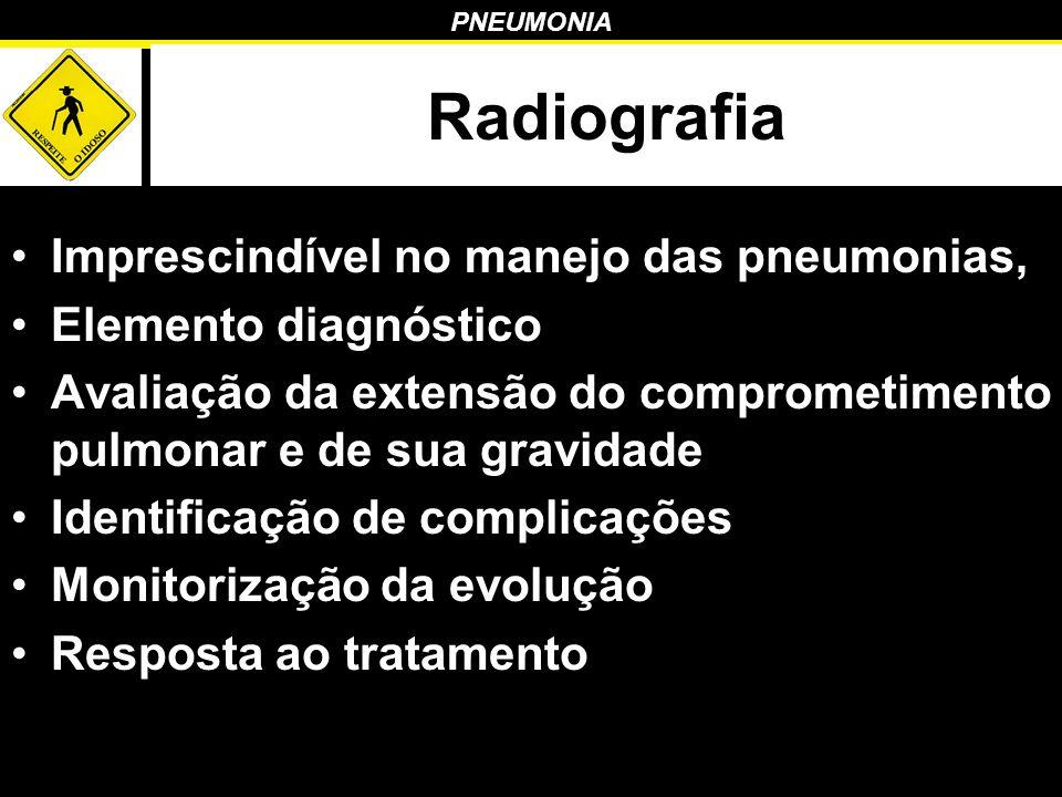 PNEUMONIA Radiografia Imprescindível no manejo das pneumonias, Elemento diagnóstico Avaliação da extensão do comprometimento pulmonar e de sua gravida