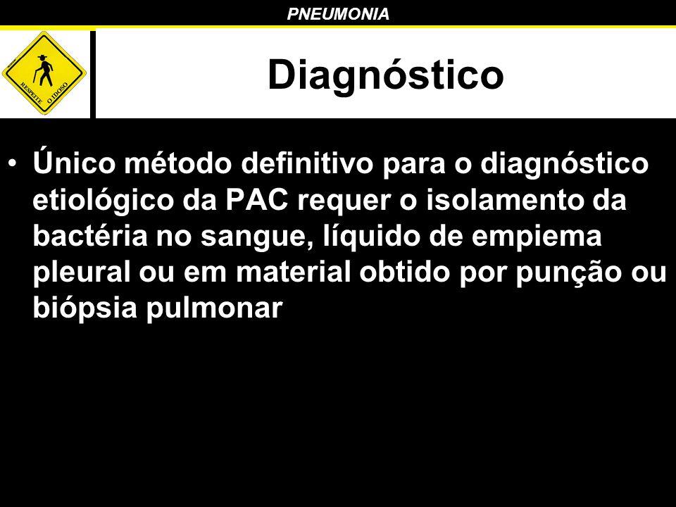 PNEUMONIA Diagnóstico Único método definitivo para o diagnóstico etiológico da PAC requer o isolamento da bactéria no sangue, líquido de empiema pleur