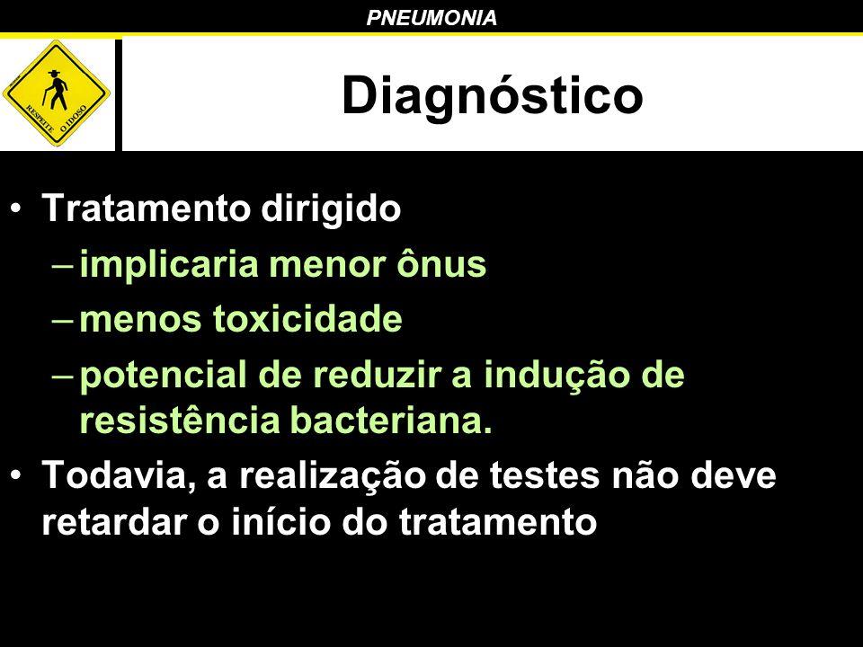 PNEUMONIA Diagnóstico Tratamento dirigido –implicaria menor ônus –menos toxicidade –potencial de reduzir a indução de resistência bacteriana. Todavia,