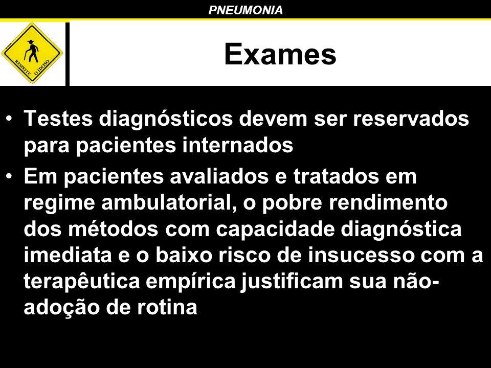 PNEUMONIA Exames Testes diagnósticos devem ser reservados para pacientes internados Em pacientes avaliados e tratados em regime ambulatorial, o pobre
