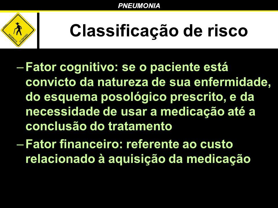 PNEUMONIA Classificação de risco –Fator cognitivo: se o paciente está convicto da natureza de sua enfermidade, do esquema posológico prescrito, e da n