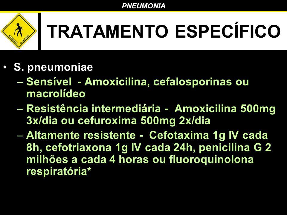 PNEUMONIA TRATAMENTO ESPECÍFICO S. pneumoniae –Sensível - Amoxicilina, cefalosporinas ou macrolídeo –Resistência intermediária - Amoxicilina 500mg 3x/