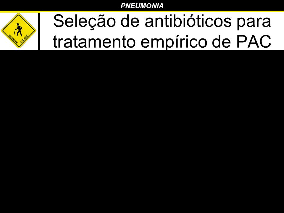 PNEUMONIA Seleção de antibióticos para tratamento empírico de PAC