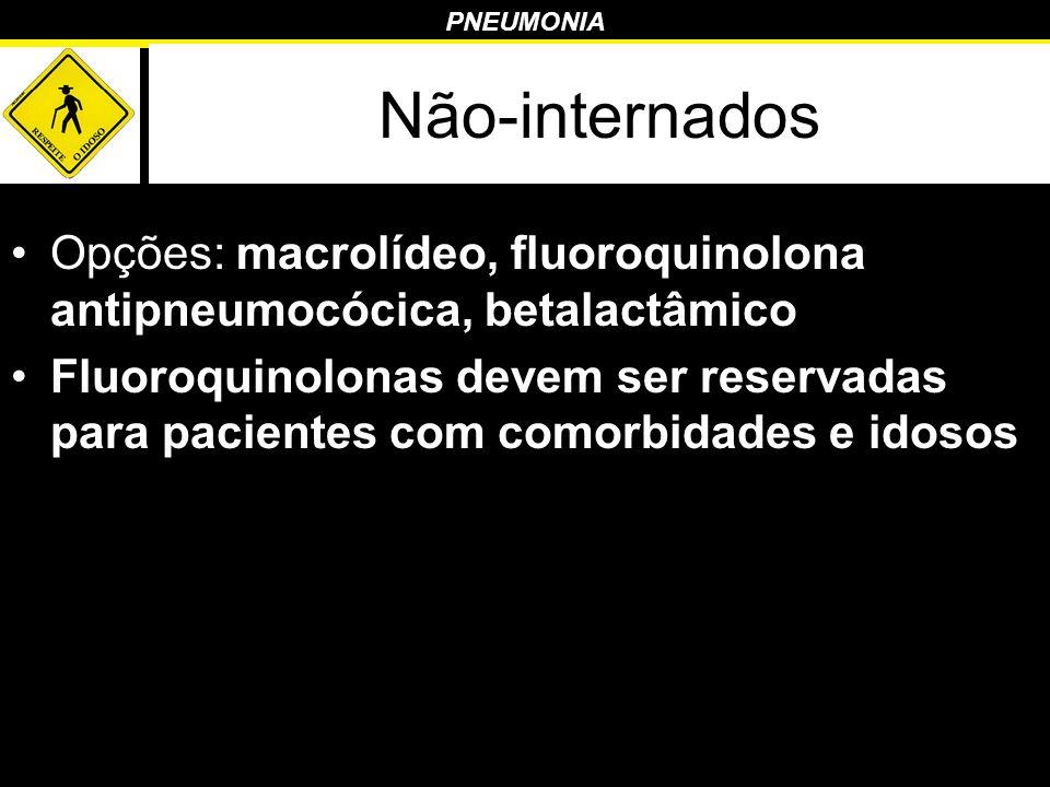 PNEUMONIA Não-internados Opções: macrolídeo, fluoroquinolona antipneumocócica, betalactâmico Fluoroquinolonas devem ser reservadas para pacientes com