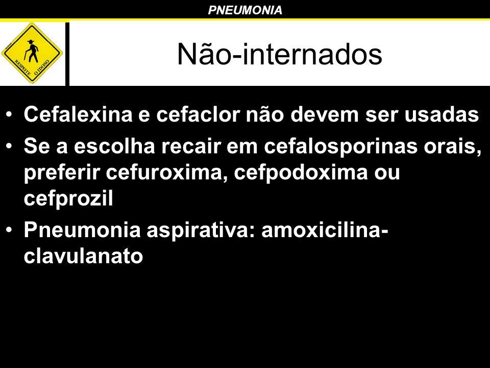 PNEUMONIA Cefalexina e cefaclor não devem ser usadas Se a escolha recair em cefalosporinas orais, preferir cefuroxima, cefpodoxima ou cefprozil Pneumo
