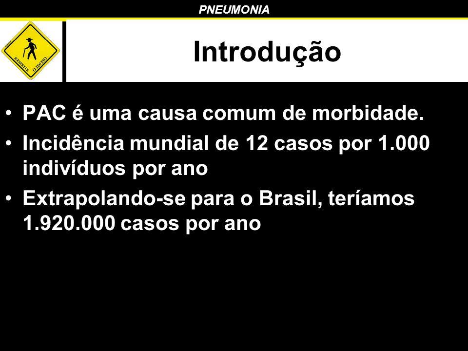 PNEUMONIA Introdução PAC é uma causa comum de morbidade. Incidência mundial de 12 casos por 1.000 indivíduos por ano Extrapolando-se para o Brasil, te
