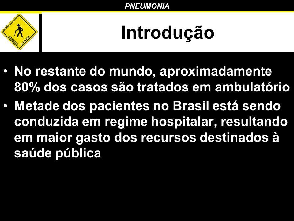 PNEUMONIA Introdução No restante do mundo, aproximadamente 80% dos casos são tratados em ambulatório Metade dos pacientes no Brasil está sendo conduzi
