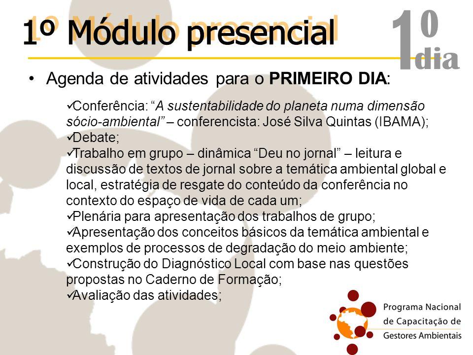 Agenda de atividades para o PRIMEIRO DIA: Conferência: A sustentabilidade do planeta numa dimensão sócio-ambiental – conferencista: José Silva Quintas