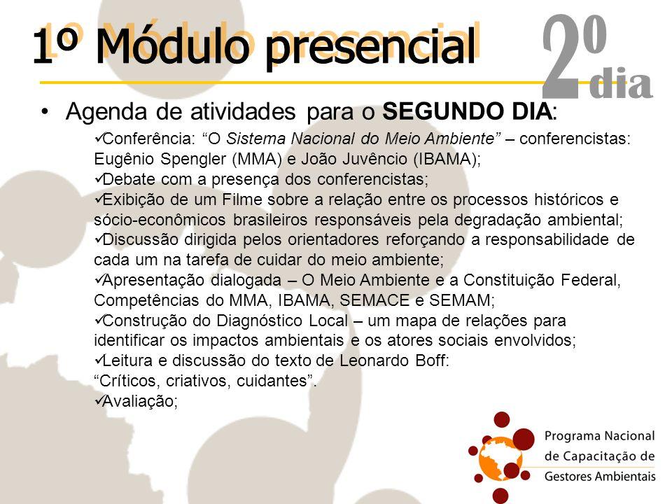 Agenda de atividades para o SEGUNDO DIA: Conferência: O Sistema Nacional do Meio Ambiente – conferencistas: Eugênio Spengler (MMA) e João Juvêncio (IB