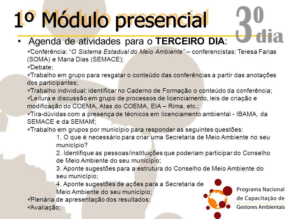 Agenda de atividades para o TERCEIRO DIA: Conferência: O Sistema Estadual do Meio Ambiente – conferencistas: Teresa Farias (SOMA) e Maria Dias (SEMACE