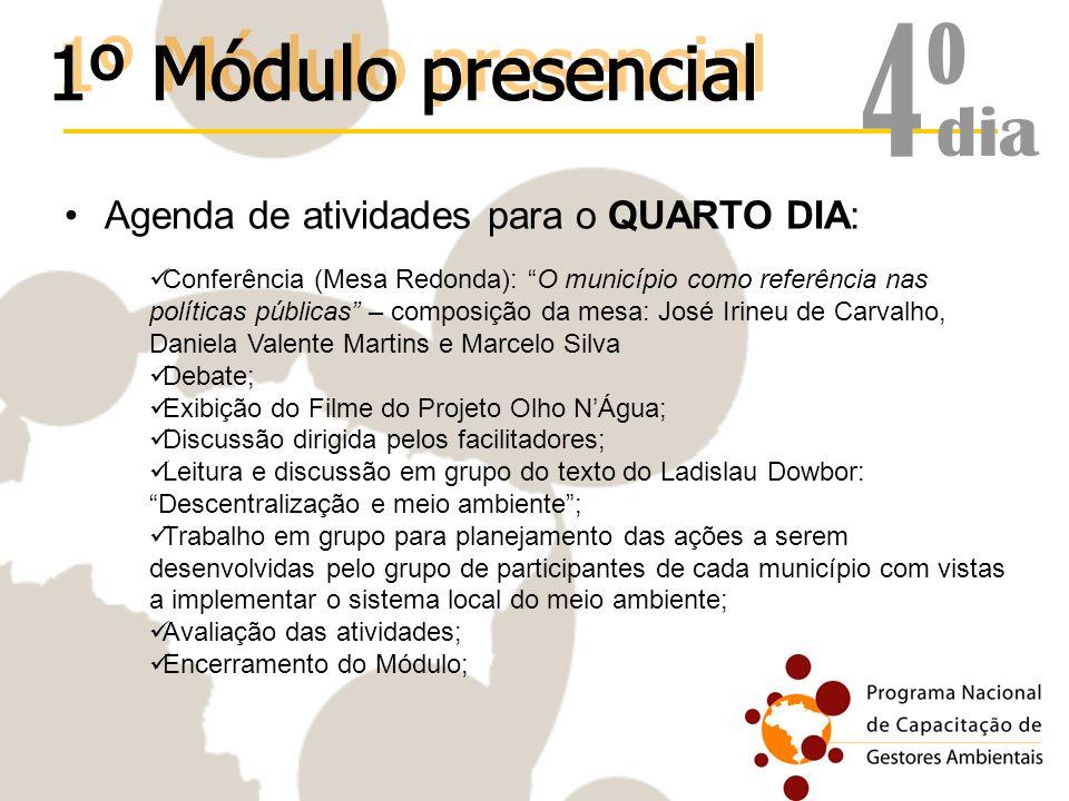 Agenda de atividades para o QUARTO DIA: Conferência (Mesa Redonda): O município como referência nas políticas públicas – composição da mesa: José Irin