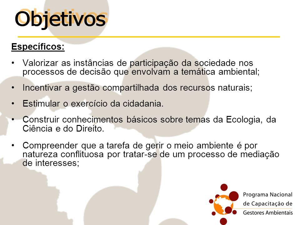 Específicos: Valorizar as instâncias de participação da sociedade nos processos de decisão que envolvam a temática ambiental; Incentivar a gestão comp