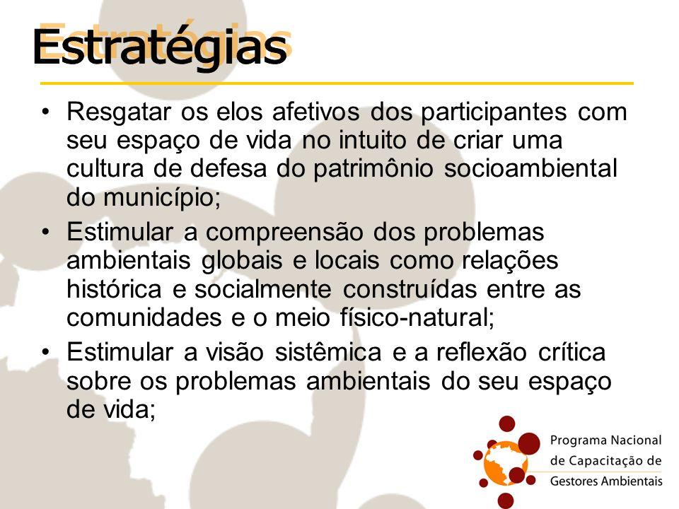Resgatar os elos afetivos dos participantes com seu espaço de vida no intuito de criar uma cultura de defesa do patrimônio socioambiental do município