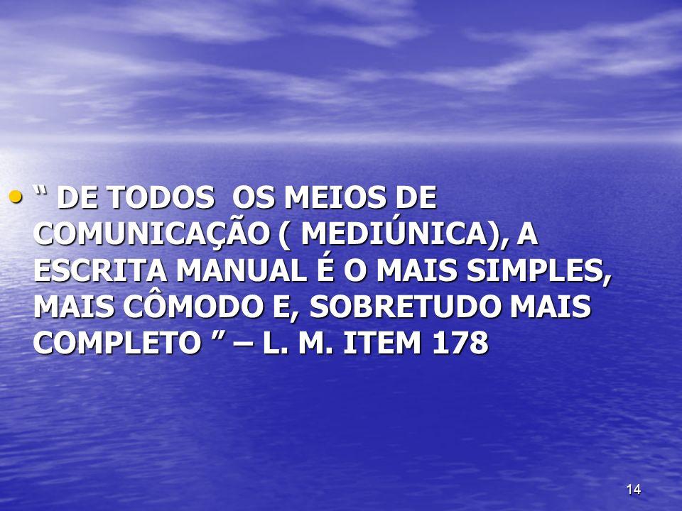 14 DE TODOS OS MEIOS DE COMUNICAÇÃO ( MEDIÚNICA), A ESCRITA MANUAL É O MAIS SIMPLES, MAIS CÔMODO E, SOBRETUDO MAIS COMPLETO – L. M. ITEM 178 DE TODOS