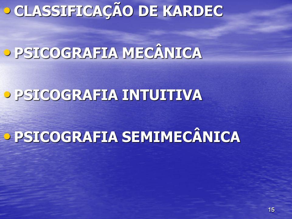 15 CLASSIFICAÇÃO DE KARDEC CLASSIFICAÇÃO DE KARDEC PSICOGRAFIA MECÂNICA PSICOGRAFIA MECÂNICA PSICOGRAFIA INTUITIVA PSICOGRAFIA INTUITIVA PSICOGRAFIA S