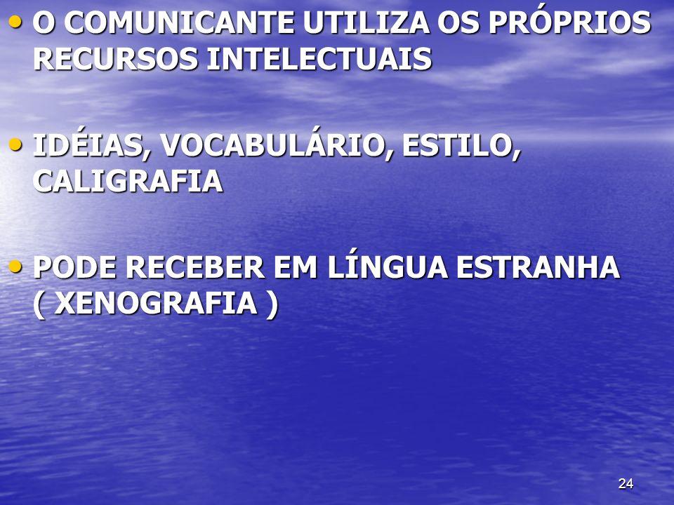 24 O COMUNICANTE UTILIZA OS PRÓPRIOS RECURSOS INTELECTUAIS O COMUNICANTE UTILIZA OS PRÓPRIOS RECURSOS INTELECTUAIS IDÉIAS, VOCABULÁRIO, ESTILO, CALIGR