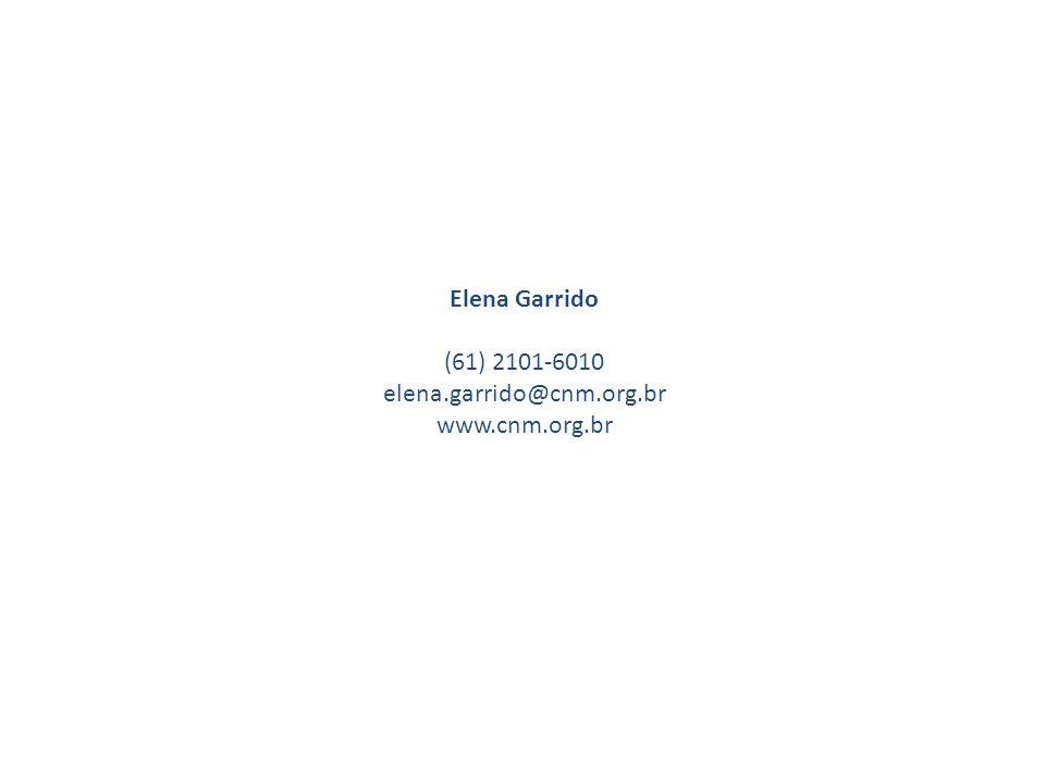 Elena Garrido (61) 2101-6010 elena.garrido@cnm.org.br www.cnm.org.br