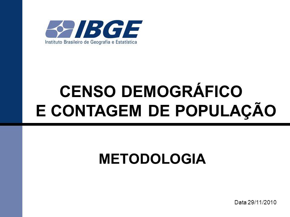 2 CENSO DEMOGRÁFICO Fonte mais completa de informações sobre a situação de vida da população brasileira.
